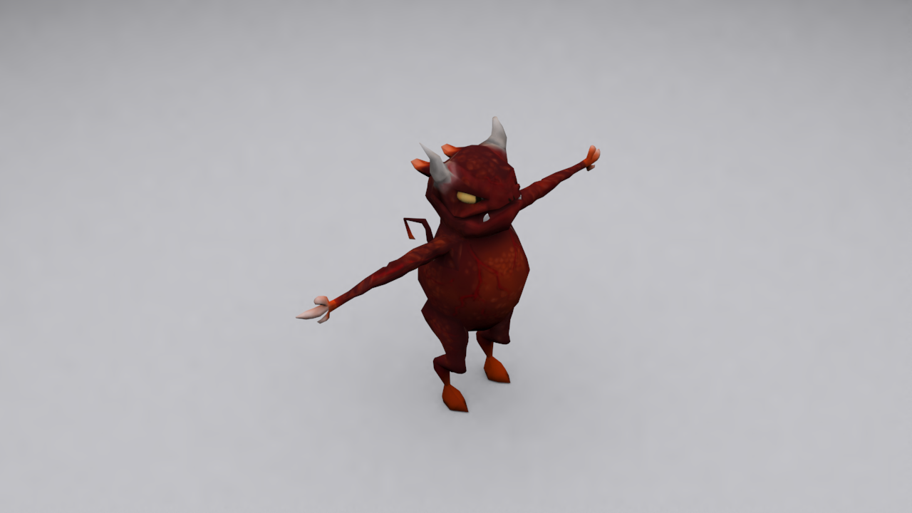 Average Demon textured 3D Model Front Left