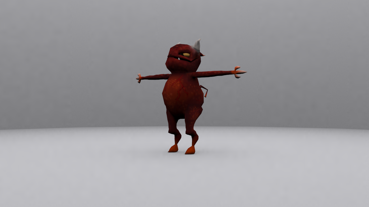 Average Demon textured 3D model front right