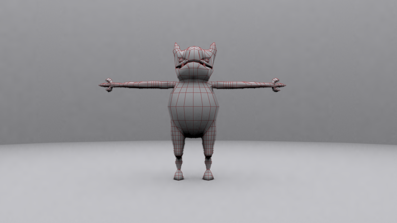 Average Demon Wired 3D model front