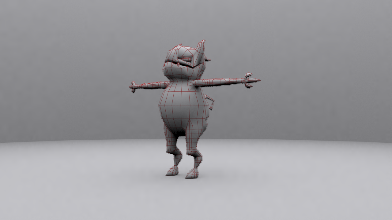 Average Demon Wired 3D model front right