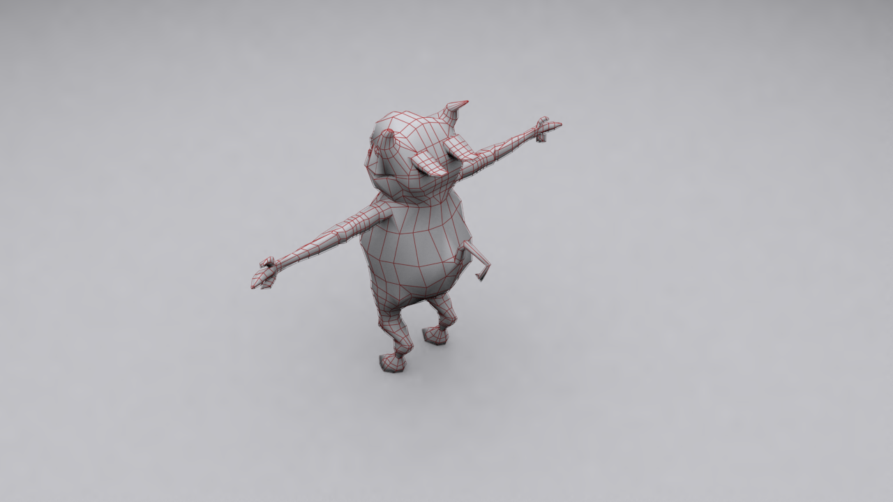 Average Demon Wired 3D model back right